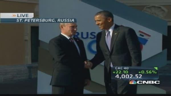 Obama and Putin shake hands
