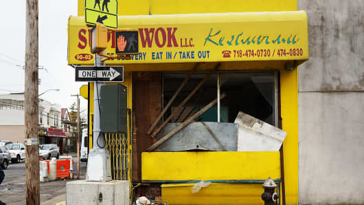 A business damaged by Hurricane Sandy in New York.
