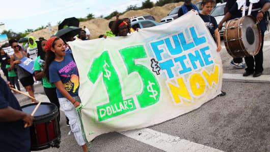 Protesters at a Walmart store in Miami Gardens, Fla.