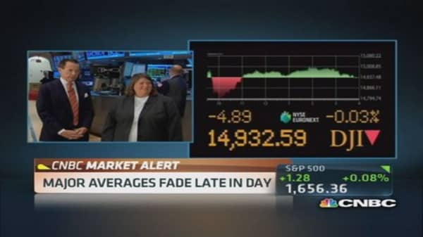 Major averages fade late in day