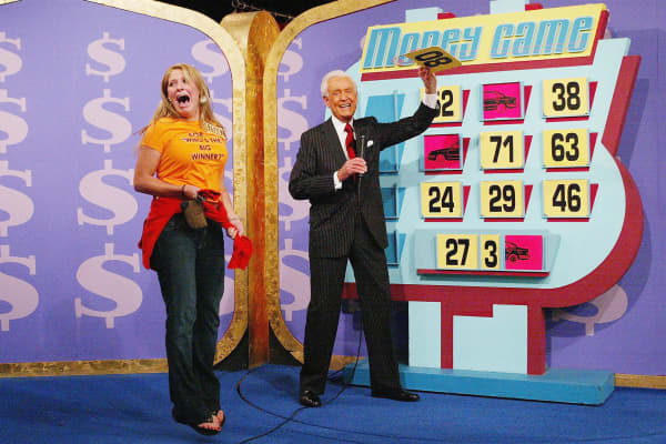 """A contestant and host Bob Barker during """"The Price Is Right"""" million dollar spectacular."""