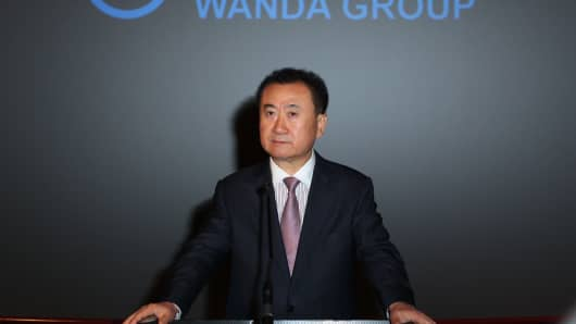 Board Chairman and President of Dalian Wanda Group Wang Jianlin speaks at the Wanda and AMC press conference on September 4, 2012 in Los Angeles, California.