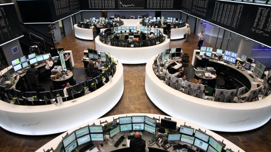 Brokers at the German Stock Exchange in Frankfurt, Germany.