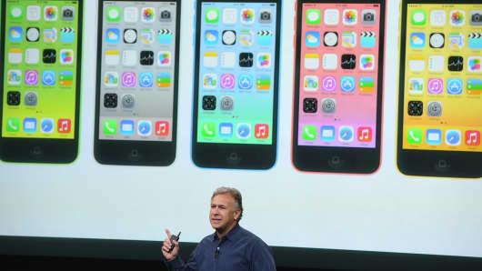 Apple's Phil Schiller speaks about the new iPhone 5C on Tuesday.