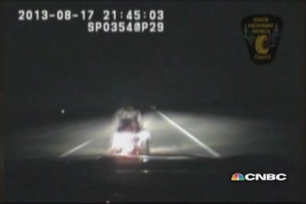 Unbelievable: Ohio state trooper slams into motorcycle