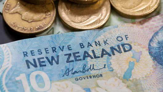 New Zealand bank notes and coins