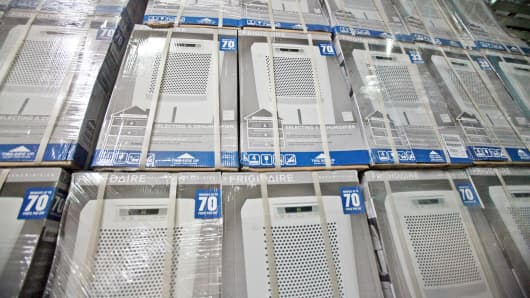 Boxes of Frigidaire Consolidated Ltd. dehumidifiers sit stacked at the ABT Inc. warehouse in Glenview, Illinois.