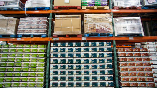 Palettes of products are displayed at a Costco Wholesale Corp. store, Hackensack, New Jersey.