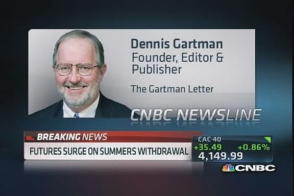 Summers 'fell on his sword': Gartman