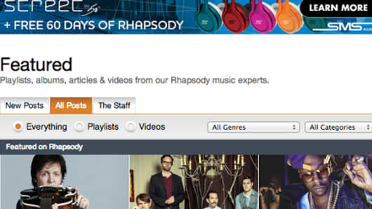 Rhapsody digital music service website.