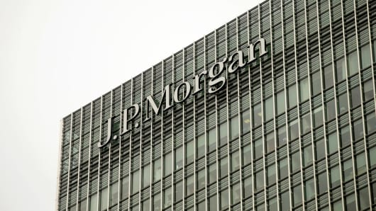 The offices of JPMorgan Chase & Co. in the Canary Wharf business and shopping district in London.