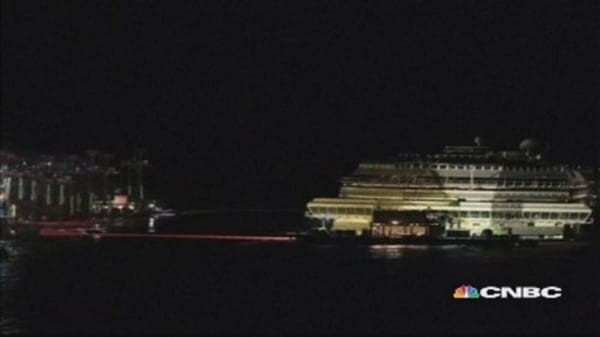 Time-lapse video: Raising the Costa Concordia