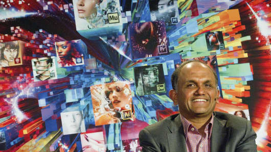 Shantanu Narayen, president and chief executive officer of Adobe Systems Inc., smiles during an interview after the launch of Adobe Creative Cloud and CS6 in San Francisco.