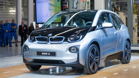 A new BMW i3 electric car is seen on the assembly line at the BMW factory in Leipzig, Germany.