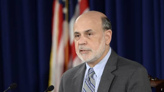 Federal Reserve Chairman Ben Bernanke during the news conference after the Fed statement Wednesday