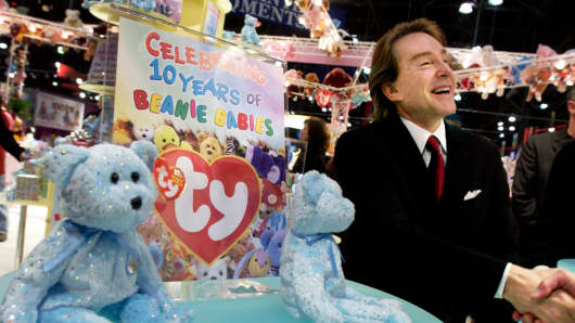 Ty Warner, creator of Beanie Babies toys, shakes hands in a rare appearance to celebrate the 10th anniversary of the Beanie Babies toy line at the American International Toy Fair February 16, 2003 at the Jacob K. Javits Convention Center in New York City.