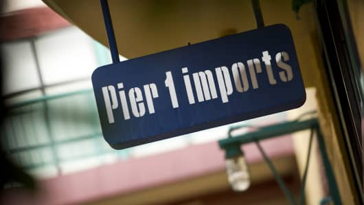 Pier 1 Imports Inc. signage is displayed outside of a store in San Francisco.