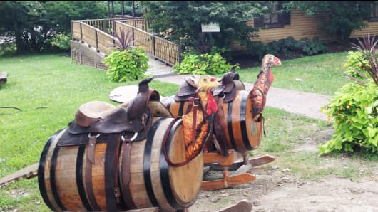 Turkey barrels outside of bourbon maker Wild Turkey, which is owned by Italy's Campari.
