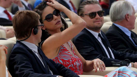 Actors Christoph Waltz, Catherine Zeta-Jones and Leonardo DiCaprio attend a launching ceremony for the Qingdao Oriental Movie Metropolis on September 22, 2013.