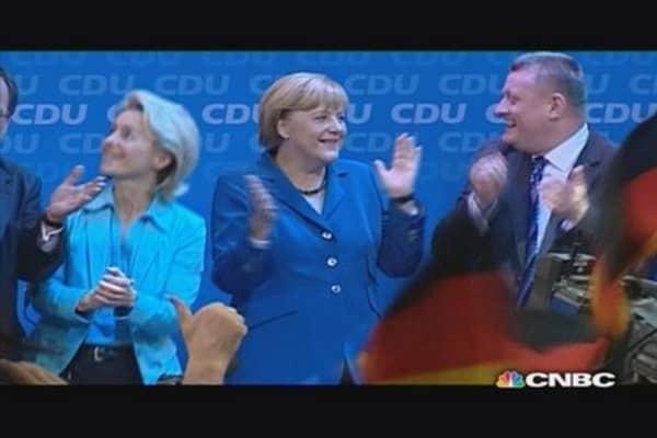 Angela Merkel's victory dance