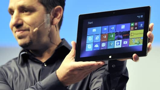Microsoft Vice President Panos Panay holds the Microsoft Surface 2 during a news conference in New York September 23, 2013.