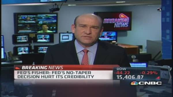 Fed's Fisher: Fed's 'no taper' decision hurts credibility