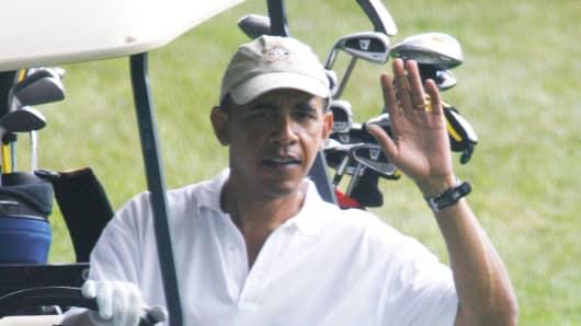 President Obama playing golf