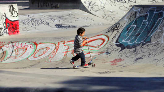 Graffiti covers a skateboard area at Plata Arroyo Park, where city service cutbacks has had an effect on vandalism, San Jose, Calif.