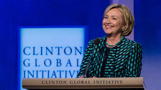 Hillary Clinton at the Clinton Global Initiative annual meeting in New York.
