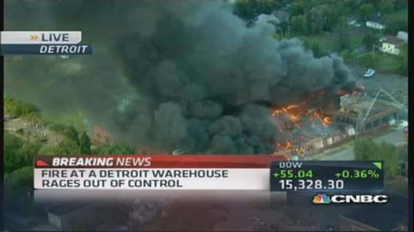 Raging fire at Detroit warehouse