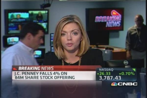 JC Penney issuing 84 million shares