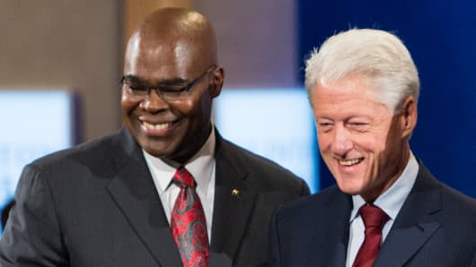McDonald's CEO Donald Thompson with former President Bill Clinton at CGI 2013 in New York.