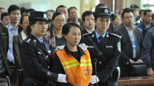 Gong Aiai on trial at the People's Court of Jingbian County in northwest China's Shaanxi Province.