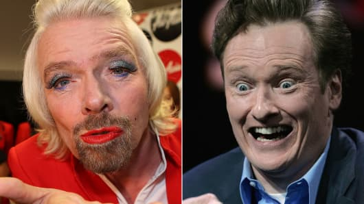 Richard Branson is being challenged by Conan O'Brien for top spot on Linkedin connections.