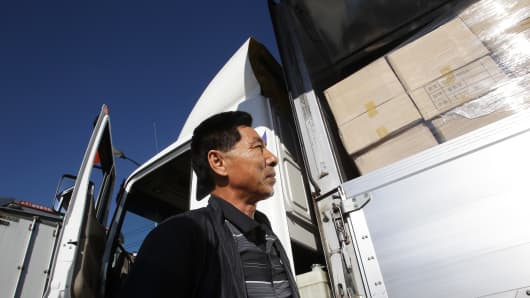 A South Korean worker waits to access the Kaesong joint industrial complex in North Korea.