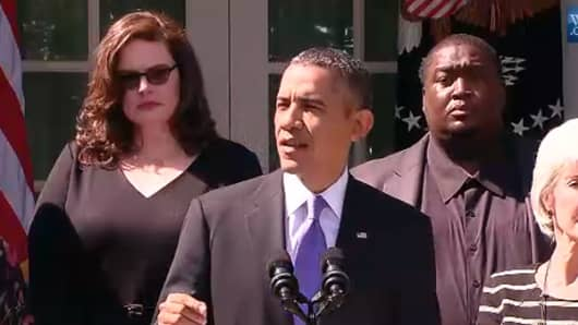 President Obama speaking at White House on the first day of the government shutdown.