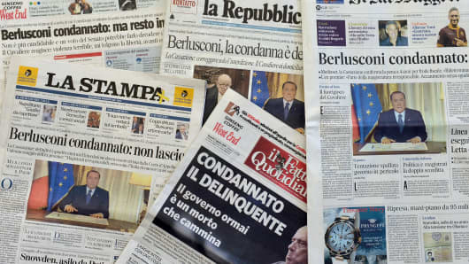 This front pages of Italian newspapers after Italy's top court upheld a jail sentence against Berlusconi.