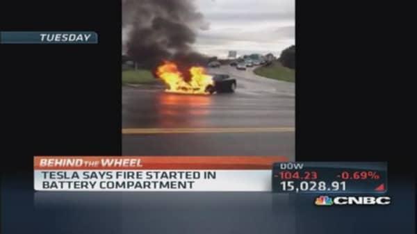 Tesla car catches fire- detail