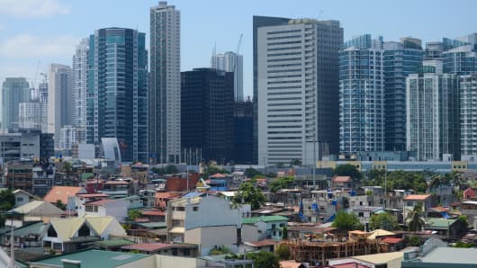 The financial district of Makati City in Manila, Philippines.