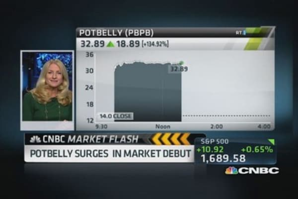 Potbelly surges in market debut
