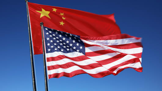 Flags of the United States and China