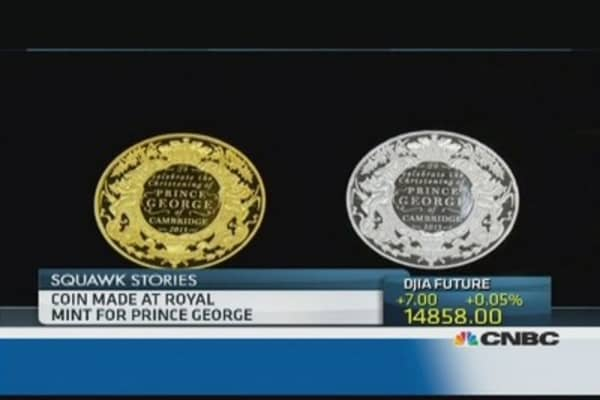 Coin made at Royal Mint for Prince George