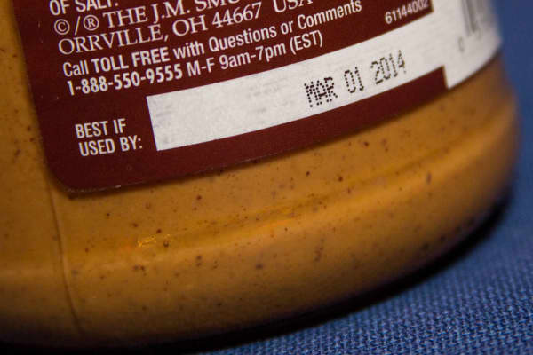 A food product displaying the sell-by date.