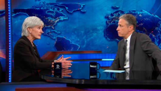 "Kathleen Sebelius and Jon Stewart on ""The Daily Show"""
