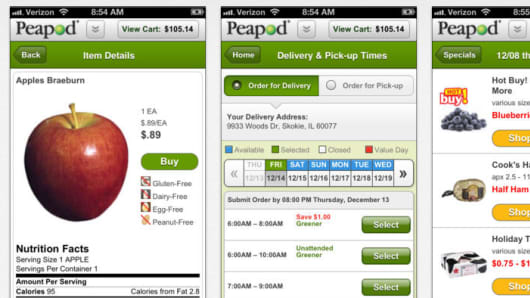 Screens of the Peapod app