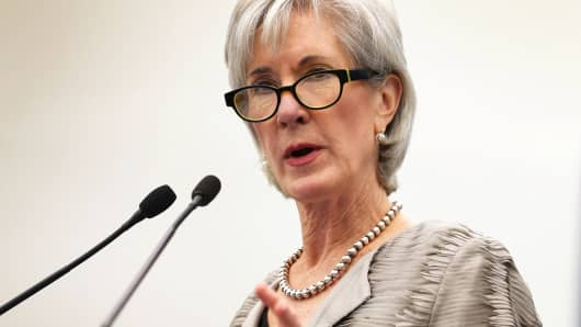Health and Human Services Secretary Kathleen Sebelius discussing the Affordable Care Act in Miami