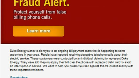 Duke Power recently emailed this fraud alert to residential and business electric customers to warn them of the ongoing scam.