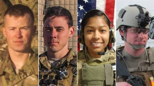 (Left to right) Pfc. Cody J. Patterson, Sgt. Patrick C. Hawkins, 1st Lt. Jennifer M. Moreno and Special Agent Joseph M. Peters were killed by an improvised explosive device in Afghanistan on October 6, 2013.