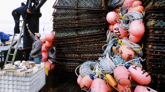 Fishermen in Homer, Alaska, prepare for the king crab season