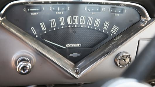 The odometer of a 1958 Chevrolet Cameo truck, at the Lambrecht family farm, reads 1 mile on September 26, 2013 in Pierce, Nebraska.